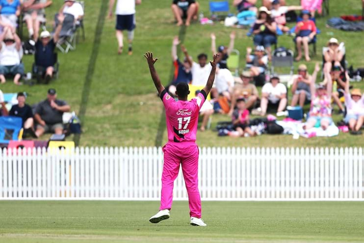 Ish Sodhi celebrates to the crowd
